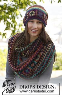 "Magic by DROPS Design  Crochet DROPS moebius neck warmer and hat with squares in ""Delight"" Pattern"