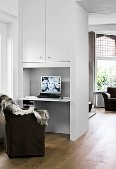 French By Design: House Tour : Siersk + Dick; built-in desk  (somewhere in kitchen?)
