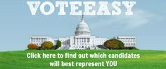 Project VoteSmart VoteEasy  Try VoteEasy to see which candidate matches your views more closely.  You can also look up a lot of information about political figures at all levels.