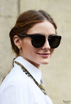 Olivia Palermo during Paris Fashion Week Dior Sunglasses, Black Sunglasses, Ray Ban Sunglasses, Cat Eye Sunglasses, Sunglasses Women, Sunnies, Sunglasses Online, Mirrored Sunglasses, Ray Bans
