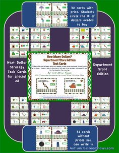 Check out these next dollar up task cards for teaching functional money skills.  Great for special education and autism middle and high school as well as younger learners with functional curriculum needs. $3