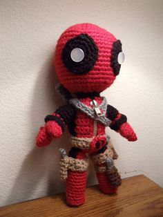 Deadpool Sackboy Amigurumi crocheted stuffed doll by YarrrnIt, $40.00.  I'm working on making one for my husband.  He's been asking for one for a hot minute now!