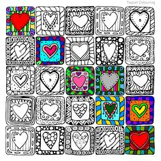 Valentines Art, My Funny Valentine, Drawing For Kids, Art For Kids, Cubism Art, Collaborative Art, Art Classroom, Art Journal Pages, Heart Art