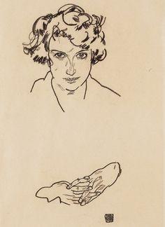 (Egon Schiele, Portrait of a Girl, 1917, black crayon on wove paper, 33.5 x 16.5 cm, Art Gallery of Ontario, Gift of Herbert Alpert in memory of Patricia Joy Alpert, Beloved Wife, Mother, Grandmother, Artist, Educator, 2002) Drawing came second...