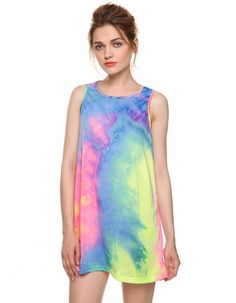 Sexy Women Sleeveless Gradient Color Casual Mini Tank Dress Summer Beach Wear