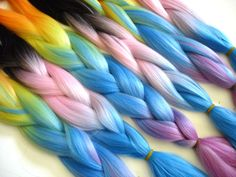 New candy rainbow and cotton candy multicolored kanekalon jumbo braid @ I Kick Shins