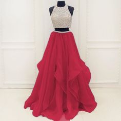 Upd0133, two pieces prom dresses, A-line prom dresses, red prom dresses, charming prom dresses