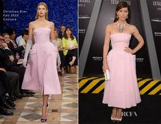 On August 1st she wore a retro baby pink Dior couture dress, Tom Binns jewels, Louis Vuitton toe-capped heels and a Jimmy Choo Bag at the Chinese Theatre in Hollywood.
