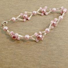 Handmade bracelet pink on pink seed beads bugles faux pearls size 7 1/2 #Pat2 #beadwork