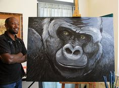 #GreatApeInspired Art : Big Guy Silverback Gorilla Painting by Art of Solomon W. Jagwe.Solomon is generously donating this to the North Carolina Zoo's annual 'Zoo To Do' silent auction. Info: GRASP