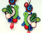 Soutache embroidery multicolour earrings green and red blue corals and crystals