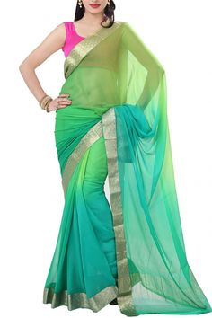 Buy Online Green Turquoise Shaded Pure Chiffon Saree . India's Best Ethnic Wears & Wares