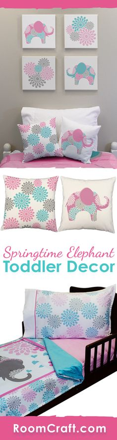 Bright and beautiful! Your little one is going to fall in love with these floral elephant toddler bedding and room decoration. They can cuddle up with the super soft minky blanket on their coordinating fitted sheet and pillowcase. The cute throw pillows are perfect for them to relax against in a window seat or reading corner. And complete the look with some adorable wall art canvases. Our Springtime Elephant toddler collection makes decorating fun and easy! #roomcraft