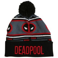 Marvel Deadpool Pom Beanie   Hot Topic ($20) ❤ liked on Polyvore featuring accessories, hats, beanie, hats/hair accessories, pom pom beanie, beanie hat, pom pom hat, beanie cap and pom beanie