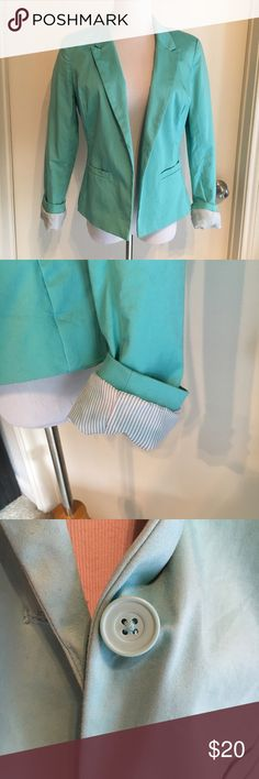 Metaphor Mint Green Cotton Blazer Long Sleeve Only worn TWICE! This is an amazingly comfy and cute Blazer from Metaphor.  Really beautiful mint/jade green color. Lining is super cute at well (white with a bit of a stripe) so the sleeves look awesome rolled up. Single button closure; buttons on the sleeves. Has some stretch to it, fits true to size. Perfect for spring and summertime. Breathable cotton makes this a great warm weather option. In perfect condition. Metaphor Jackets & Coats…