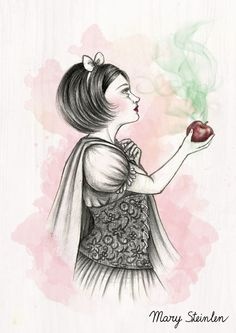 Snow White by MarySteinlen.deviantart.com on @DeviantArt Snow White, poisoned apple illustration
