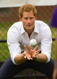 Prince Harry takes part in a baseball event at Harlem RBI in New York as part of his visit to the United States on the 14 May 2013
