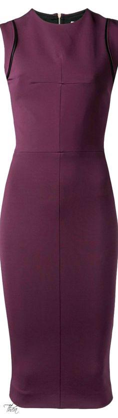♔ Victoria Beckham ● Aubergine fitted dress