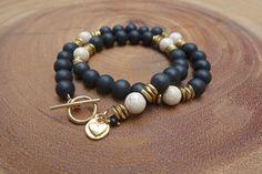 black onyx and riverstone double wrap bracelet