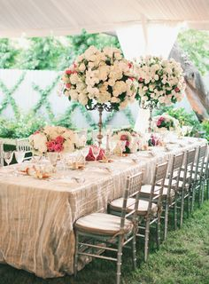 One of the newest trends for receptions is to have square or rectangular tables instead of or in addition to standard round tables.
