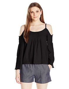 Nanette Lepore Women's Sultry Shoulder Top, Black, 6 ** You can find more details by visiting the image link. #WomensTopsTees