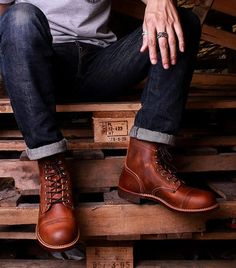 Details about Handmade Men Brown Ankle leather boots Men leather boots New mens Ankle boots - Leather Boots - Ideas of Leather Boots - Picture 5 of 5 Botas Red Wing, Red Wing Boots, Mens Ankle Boots, Lace Up Ankle Boots, Shoe Boots, Men Boots, Mens Casual Boots, Men Casual, Red Wing Iron Ranger