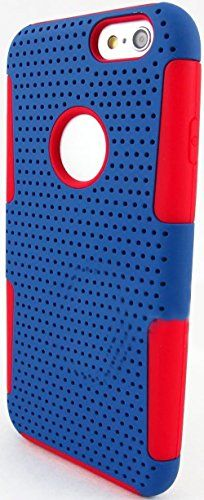 """myLife 2 Layer Neo Hybrid Bumper Case for iPhone 6 Plus (5.5"""" Inch) by Apple {Classic Red + Dark Blue """"Perforated Mesh Net"""" Two Piece SECURE-Fit Rubberized Gel} myLife Brand Products http://www.amazon.com/dp/B00PT3UH10/ref=cm_sw_r_pi_dp_Pd2Cub17P38G4"""