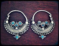 Antique Afghan Tribal Hoop Earrings with Turquoise by COSMIC NORBU