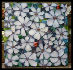 Sea glass mixed with mosaic tiles
