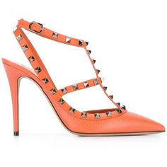 "Valentino Garavani ""Rockstud"" Pumps ($735) ❤ liked on Polyvore featuring shoes, pumps, orange, pointy toe ankle strap pumps, valentino pumps, leather pointed toe pumps, pointy-toe pumps and orange shoes"