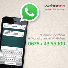 """Uns gibt's jetzt auch auf WhatsApp!  Hol Dir jetzt die wohnnet.at Ratgeber, Gewinnspiel & Event News direkt auf Dein Smartphone. Ganz kostenlos. Und ganz unkompliziert!  1. Unsere Nummer 0676 43 55 109 unter """"wohnnet"""" in den Kontakten abspeichern 2. Beliebige WhatsApp Nachricht senden, damit wir Dich in die Community aufnehmen können!  Und das war's! Viel Spaß beim WhatsAppen! Smartphone, Home And Living, Games, Tips"""