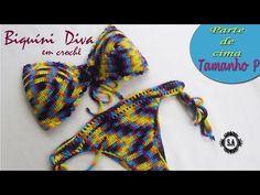 Biquíni Diva em Crochê - YouTube Crop Top Bikini, Halter Bikini, Crochet Bikini Top, Crochet Top, Parte Superior Del Bikini, Patron Crochet, Knitting Videos, Beachwear, Swimwear
