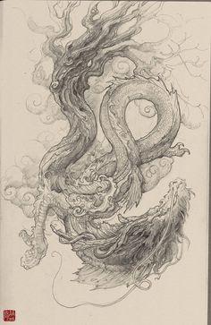 ArtStation - Chinese Dragon-sketch, Zhelong XU
