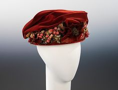 Velvet toque hat ca. 1915