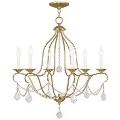 Livex Lighting 6426-71 Venetian Golden Bronze Chesterfield 6 Light 1 Tier Chandelier with Crystal Accents - LightingDirect.com