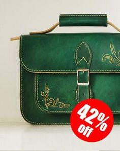 Handcraft vintage floral leather Carved Satchel shoulder bag /handbag for women girl