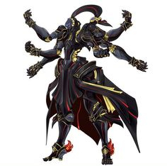Six-armed figure with black armor Fantasy Character Design, Character Creation, Character Design Inspiration, Character Concept, Character Art, Robot Concept Art, Armor Concept, Fantasy Characters, Anime Characters