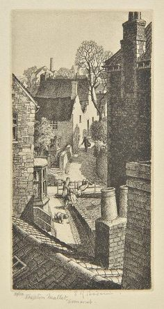 AR Badmin (Stanley Roy, 1906-1989). Shepton Mallet, Somerset, 1930,  etching on cream laid paper, from the edition of 50, published by Twenty One Gallery, a fine impression, signed, titled, and numbered 38/50 in pencil, additionally inscribed in pencil to lower margin 'Shepton Mallet Printed by S.R.B.', plate size 142 x 73mm (5.6 x 2.9ins), sheet size 240 x 150mm (9.5 x 5.9ins) Beetles 20. (1) Building Illustration, Illustration Art, Body Sketches, Sketchbook Inspiration, Rooftops, Etchings, Linocut Prints, Landscape Art, Sketchbooks