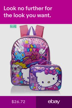 Backpack Hello Kitty Girl Kids Toddler Book Bag School Shoulder Lunch Kit  Box fd88d8728e