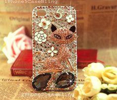 iPhone 4 Case, iPhone 4s Case, iPhone 5 Case, iPhone 5 bling Case, Bling iPhone 4 case, Luxury crystal iphone 4 case fox, cute iphone 4 case by iPhone5CaseBling, $24.98