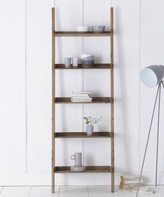 Rusitc wooden ladder display with five useful shelves Simple home assembly 191h x 65w x 38d