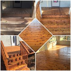 Full restoration on a cedar deck with Ready Seal color Light oak by: J&H Painting of the QC