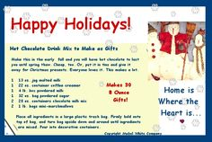 Hot Chocolate Drink Mix Recipe on a forward-able Happy Holidays Recipe Postcard - yes you can share it! Mixed Drinks, Craft Gifts, Hot Chocolate, Happy Holidays, Holiday Recipes, Christmas Diy, Greeting Cards, Diy Crafts, How To Make