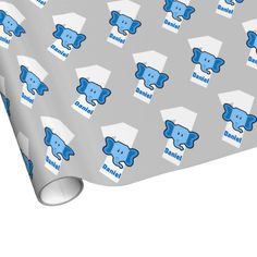 1st Birthday ELEPHANT Year Old Custom Boy Name Wrapping Paper Blue Gift