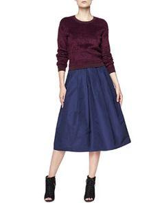 -5D6J Burberry London Velvet Crewneck Sweater and Full Pleated Pocket Skirt