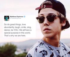 Magcon , Matthew Espinosa , Matt , inspirational , special, be yourself , important , quote , Twitter , cute
