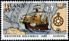 Stamp depicting the Santa Maria, a map, and a compass rose, designed by Þröstur Magnússon, printed by lithography, and issued by Iceland on April 6, 1992 as a EUROPA stamp commemorating the 500th anniversary of Christopher Columbus's discovery of the New World, Scott No. 750, Facit No. 800A.