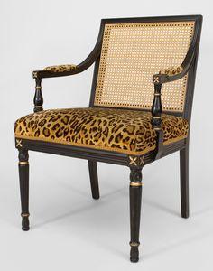 French Louis XVI seating chair/arm chair ebonized