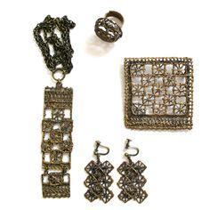 Vintage Pentti Sarpaneva Finland 70s bronze Pitsi lace, rare set of four