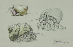 Animal Sketches, Animal Drawings, Cute Drawings, Meer Illustration, Botanical Illustration, Crab Art, Fish Art, Crab Painting, 30 Day Art Challenge